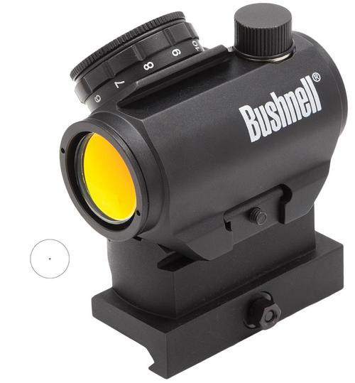 Bushnell TRS-25 High Rise 1x 25mm Obj, Unlimited Eye Relief, 3 MOA, Black
