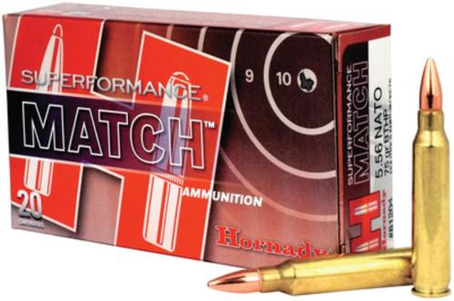 Hornady Superformance 5.56mm Nato 75 Gr, Hollow Point Boat-tail, Match, 20rd Box