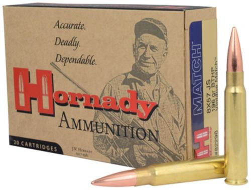 Hornady Vintage Match Rifle Ammunition 8x57 JS 196gr, Boattail Hollow Point 20rd Box
