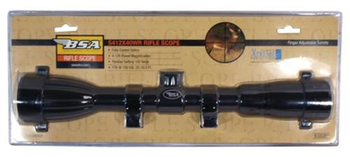 BSA Sporting Optics Special Series Riflescope 4-12x40mm Duplex Reticle Matte Black With Rings Clampack