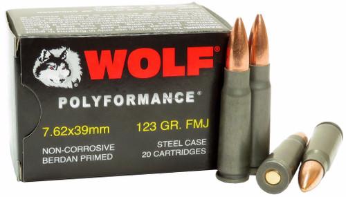 Wolf 7.62x39mm 123gr, FMJ, Steel Case, 20rd Box