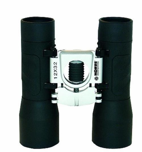 Konus Basic 12x32 Binoculars Roof Prism Rubber Coated Body, Ruby Coated Optic Central Focus Black