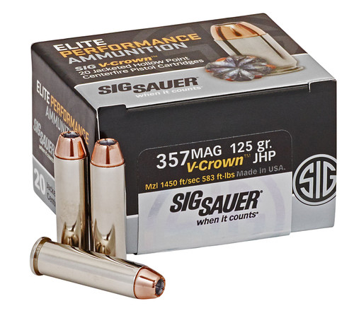 Sig Ammo 357 Magnum 125gr, Elite V-Crown JHP, 20rd Box