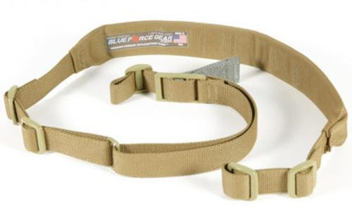 Blue Force Gear Sling, Molded Acetal Adjuster, No Quick Release, Attached with TriGlide instead of Loop Lock, 2-Point Padded Combat Sling, Coyote Brown