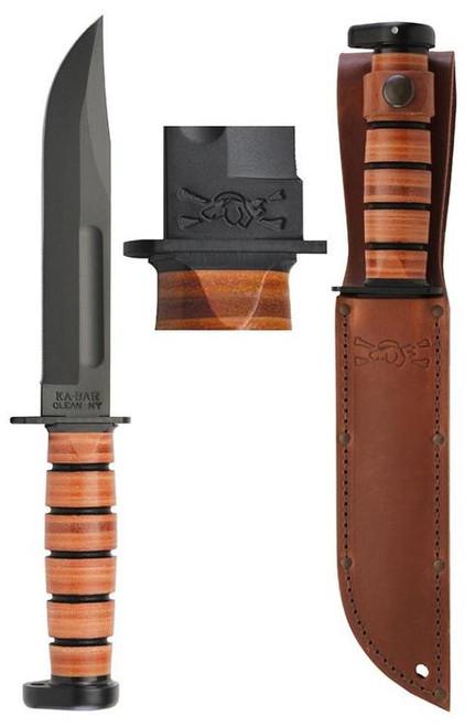 """Ka-Bar Dog''''s Head Utility Knife 7"""" 1095 Cro-Van Clip Point Leather Hndl"""