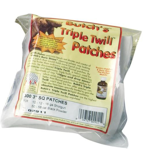 Butchs Triple Twill Patches Cleaning Patches 45 - 58 Cal 375/Pk