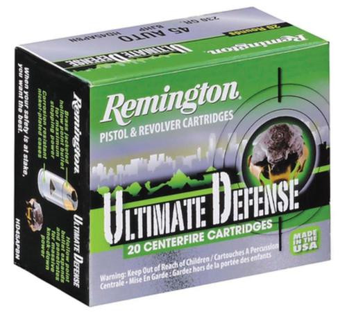 Remington Ultimate Defense Compact Handgun 9mm 124gr, Brass Jacketed Hollow Point 20rd Box 25 Box/Case