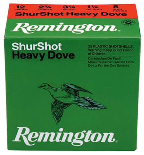 Remington Shurshot Heavy Dove Loads 12 Ga, 2.75, 1-1/8oz, 6 Shot, 250rd/Case (10 Boxes of 25rd)
