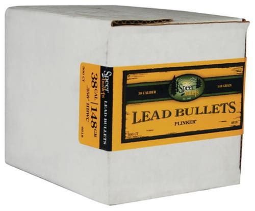 Speer Handgun Bullets Lead .38 Caliber .358 148 Gr, Hollow Base, Wadcutter, 500/Box
