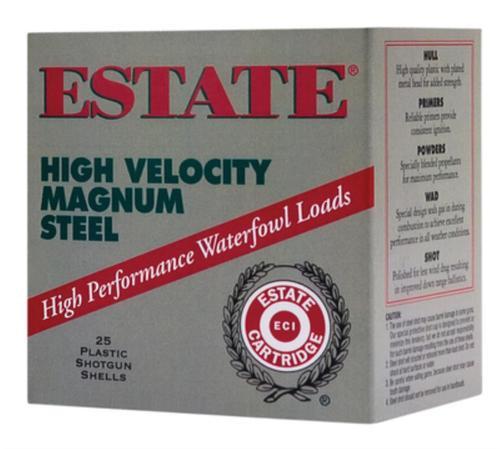"Estate High Velocity Magnum Steel 12 Ga, 2.75"", 1-1/4oz, 4 Shot, 25rd/Box"