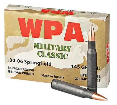 Wolf Military Classic 30-06 Springfield FMJ 145 gr, Steel Case, 500Rd/Case