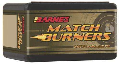 Barnes Match Burner Bullet .22 Caliber .224 Diameter 69 Grain 1:10 Inch Twist Or Faster Recommended Boattail Match, 100rd/Box