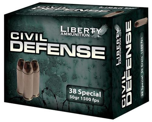 Liberty Ammo Civil Defense .38 Special 50gr, Fragmenting HP, 20rd Box, 50/Case