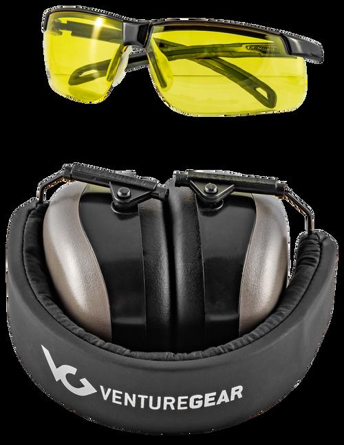 Pyramex Glasses Ever-Lite Range Kit Combo PM8010 Muffs and Ever-Lite Glasses Black Frame/Amber Lens