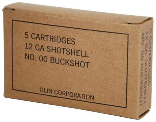 "Winchester Military Grade 12 Ga, 2.75"", 1325 FPS, 9 Pellets, 00 Buckshot, 5rd Box"