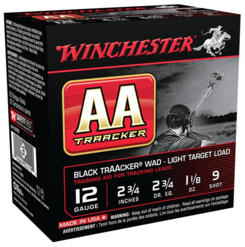 "Winchester AA TrAAcker Light 12 Ga 2.75"" 1350 FPS 1.125oz 9 Shot Black Wad"