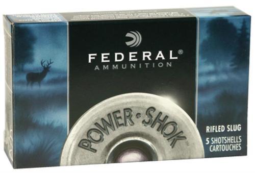 """Federal Power-Shok 12 Ga, 3"""", 1600 FPS, 1.25oz, Hollow Point Rifled Slugs, 5rd/Box"""