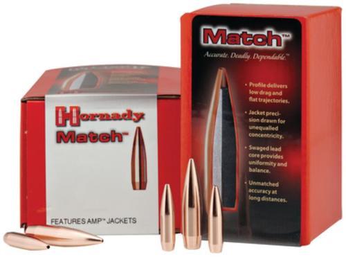 Hornady Match Bullets .308 Diameter 168 Grain Boattail Hollow Point 250 Per Box