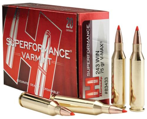 Hornady Superformance Varmint .243 Win, 75gr, V-Max, 20rd Box