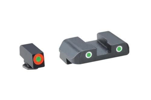 AmeriGlo Tritium Front/Rear Combo Sights Green Dot White Outline Rear and Green Dot Orange Outline Front For Glock 17-39