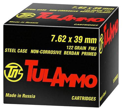 TulAmmo 7.62x39mm, 154 Gr, SP, Steel Case, 40rd/Box