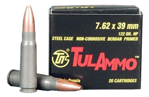 Tulammo 7.62x39 122gr HP Steel Case Non-Corrosive 20rd Box