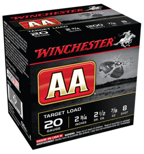 "Winchester AA Target 20 Ga, 2.75"", 1200 FPS, 0.875 oz, 8 Shot, 250rd/Case (10 Boxes/Case)"