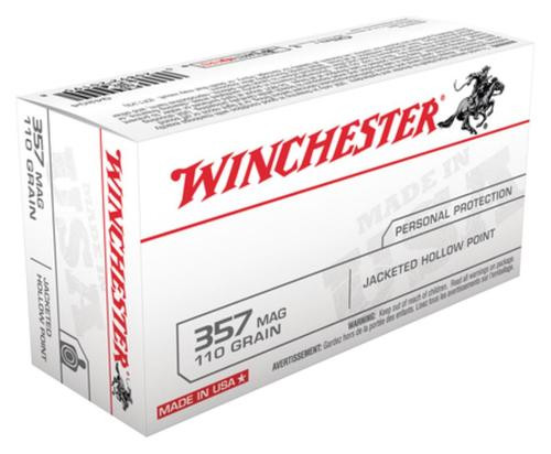 Winchester USA 357 Rem Mag Jacketed Hollow Point 110gr, 50Box/10Case