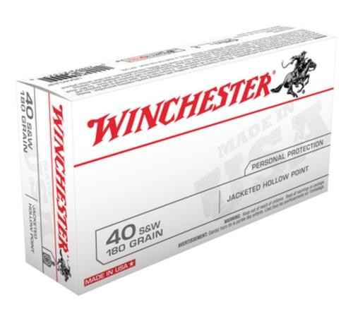 Winchester USA .40 SW 180 Gr, Jacketed Hollow Point, 50rd Box