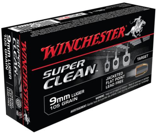 Winchester USA 9mm Super Clean 105gr, Jacketed Flat Point, 50rd Box