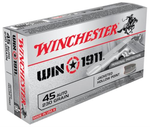 Winchester Win1911 45 ACP 230gr, Jacketed Hollow Point 50rd Box