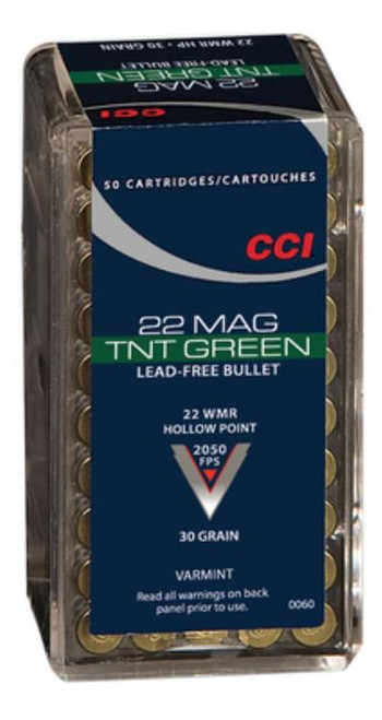 CCI TNT Green .22 Magnum 30gr, Lead Free, Hollow Point, 50rd Box