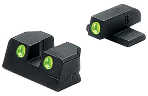 Meprolight Self Illuminated Tru-Dot Fixed Night Sights for 9mm/.357 Sig P-Series Pistols with #8 Front and #8 Rear Sights Green/Green