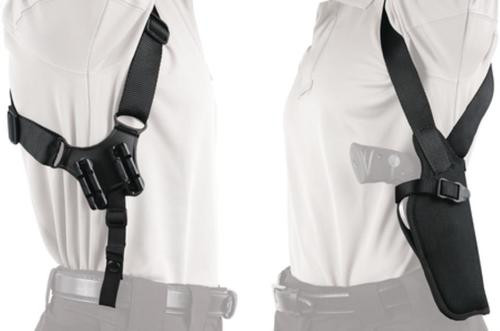 "Blackhawk Vertical Shoulder Holster Black Right Hand With Rotating Safety Strap For 4.5-5"" Barrel Large Autos"