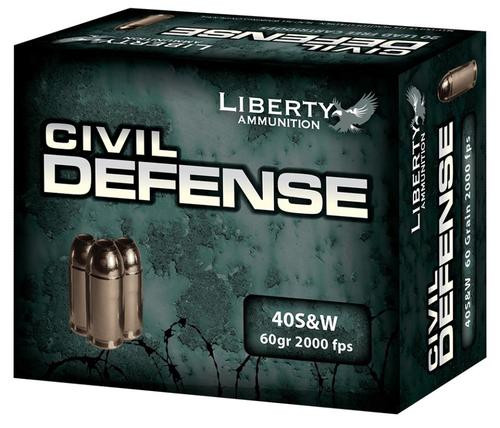 Liberty Ammo Civil Defense 40S&W 60gr, LF Fragmenting HP, 20rd Box