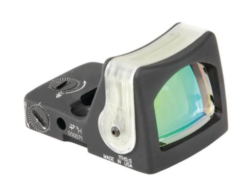 Trijicon RMR Ruggedized Miniature Reflex Sight Dual Illuminated Fiber Optic and Tritium 7 MOA Amber Dot Reticle Matte Black
