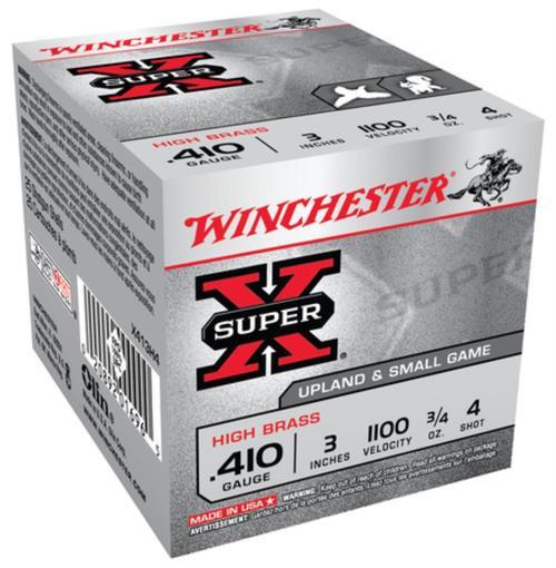 """Winchester Super-X High Brass .410 Ga, 3"""", 1100 FPS, .75oz, 4 Shot, 25rd/Box"""