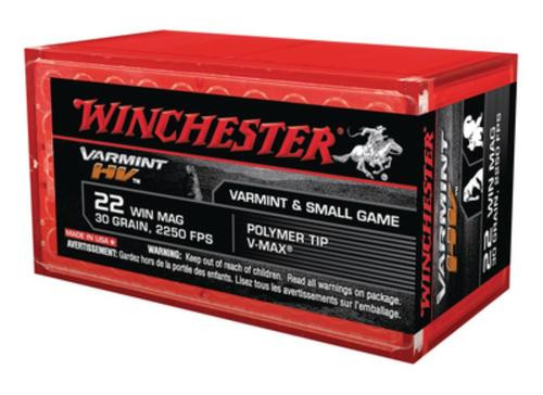 Winchester Varmint HV .22 Winchester Magnum 30gr, V-Max 50 Per Box