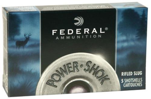 "Federal Power-Shok 10 Ga, 3.5"", 1280 FPS, 1.75oz, Hollow Point Rifled Slug, 5rd/Box"