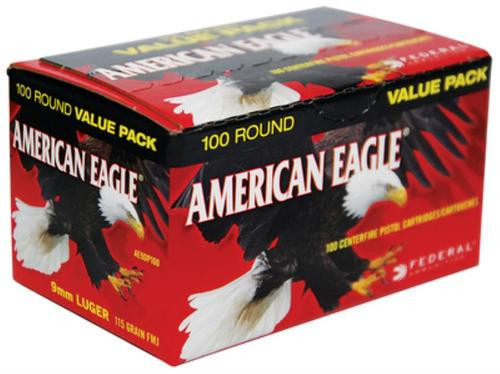 Federal American Eagle 9mm 115gr, Full Metal Jacket 100 Rounds Per Box
