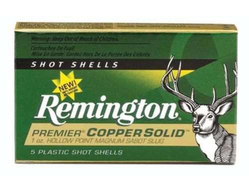 Remington Premier Copper 12 Gauge 3 Inch 1550 FPS 1 Ounce Copper Solid Hollow Point Sabot Slugs