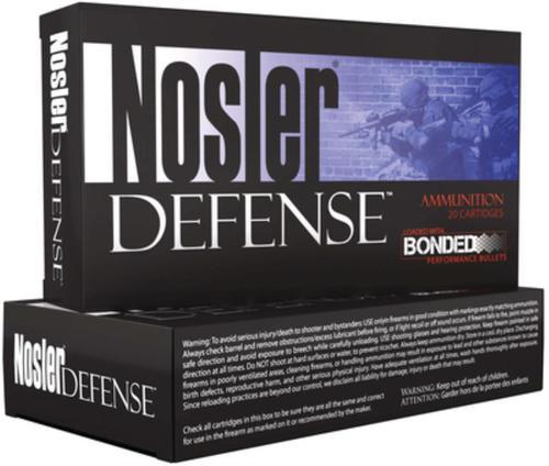 Nosler Defense Bonded .223 Remington 64gr, Bonded Solid 20rd Box