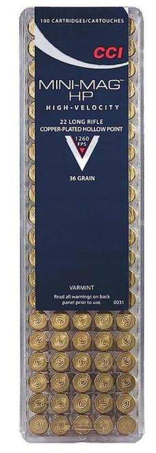 CCI Varmint .22LR 36gr, Copper-Plated Hollow Point, 100rd/Box
