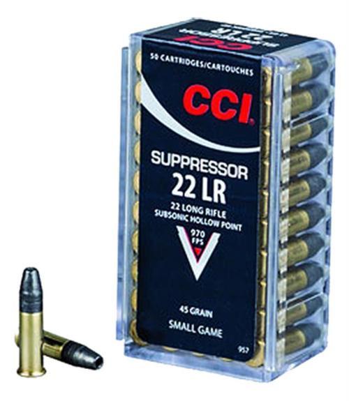 CCI 22LR Suppressor 22 LR 45gr, Lead Hollow Point, 50rd Box