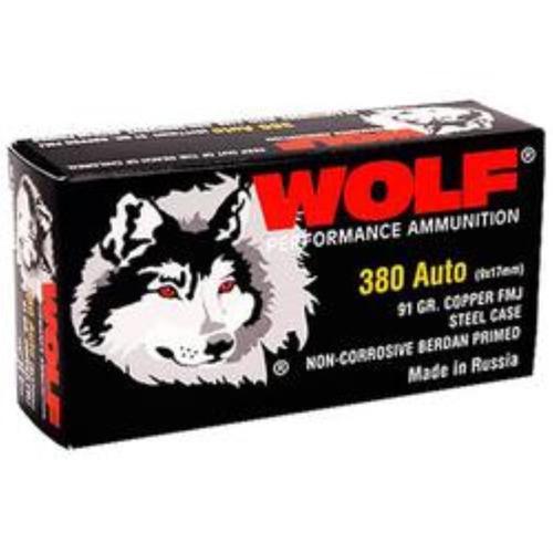 Wolf .380 ACP, 91 Gr, FMJ, Steel Case, 1000rd/Case