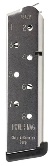 Chip McCormick Magazine, Power Mag Plus, 45ACP, 8Rd, Stainless, Fits 1911