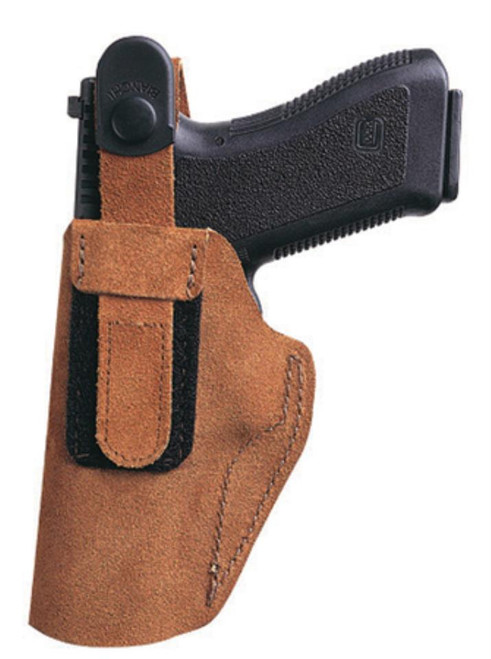 """Bianchi 6D Adjustable Thumb Break Waistband Holster Large 4"""" Auto Size 13 Rust Suede Left Hand"""