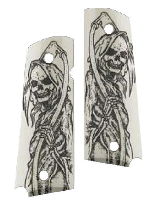 Hogue 1911 Government Model Grip Panels Ivory, Grim Reaper
