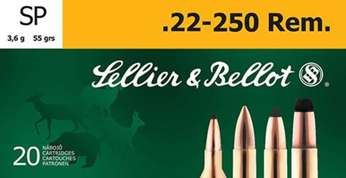 Sellier & Bellot Soft Point 22-250 Rem 55 gr, 20rd Box, 25 Box/Case