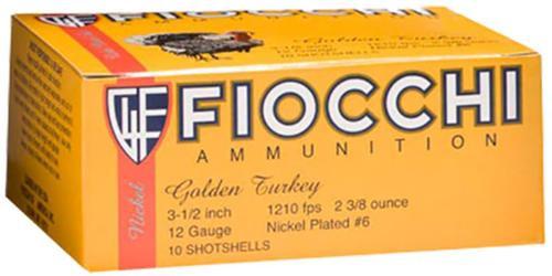 "Fiocchi Turkey Nickel Plated 12 Ga, 3.5"", 2-3/8oz, 6 Shot, 10rd/Box"